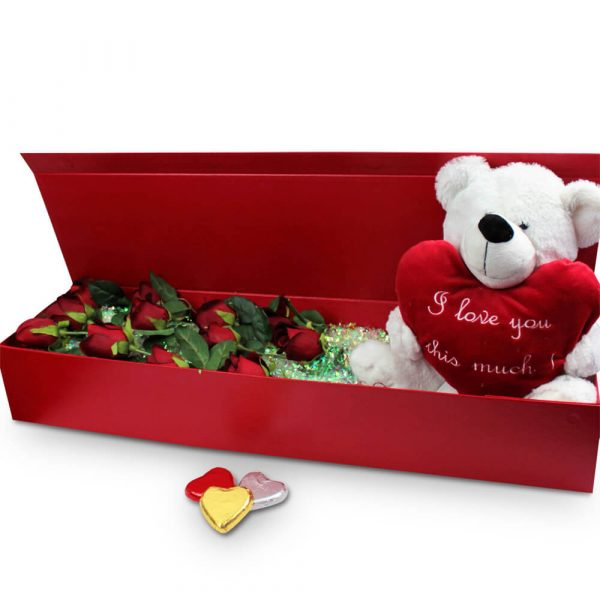 Boxed real to touch roses with teddy