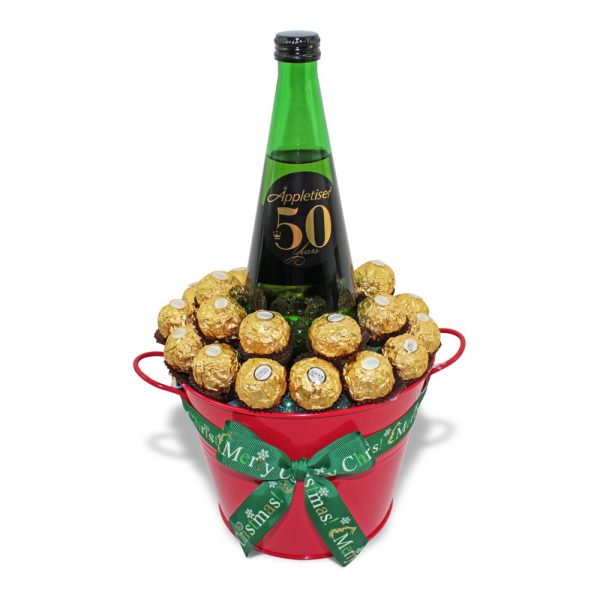 Ferrero Rocher and Appletiser Sparkling Apple Juice chocolate bucket