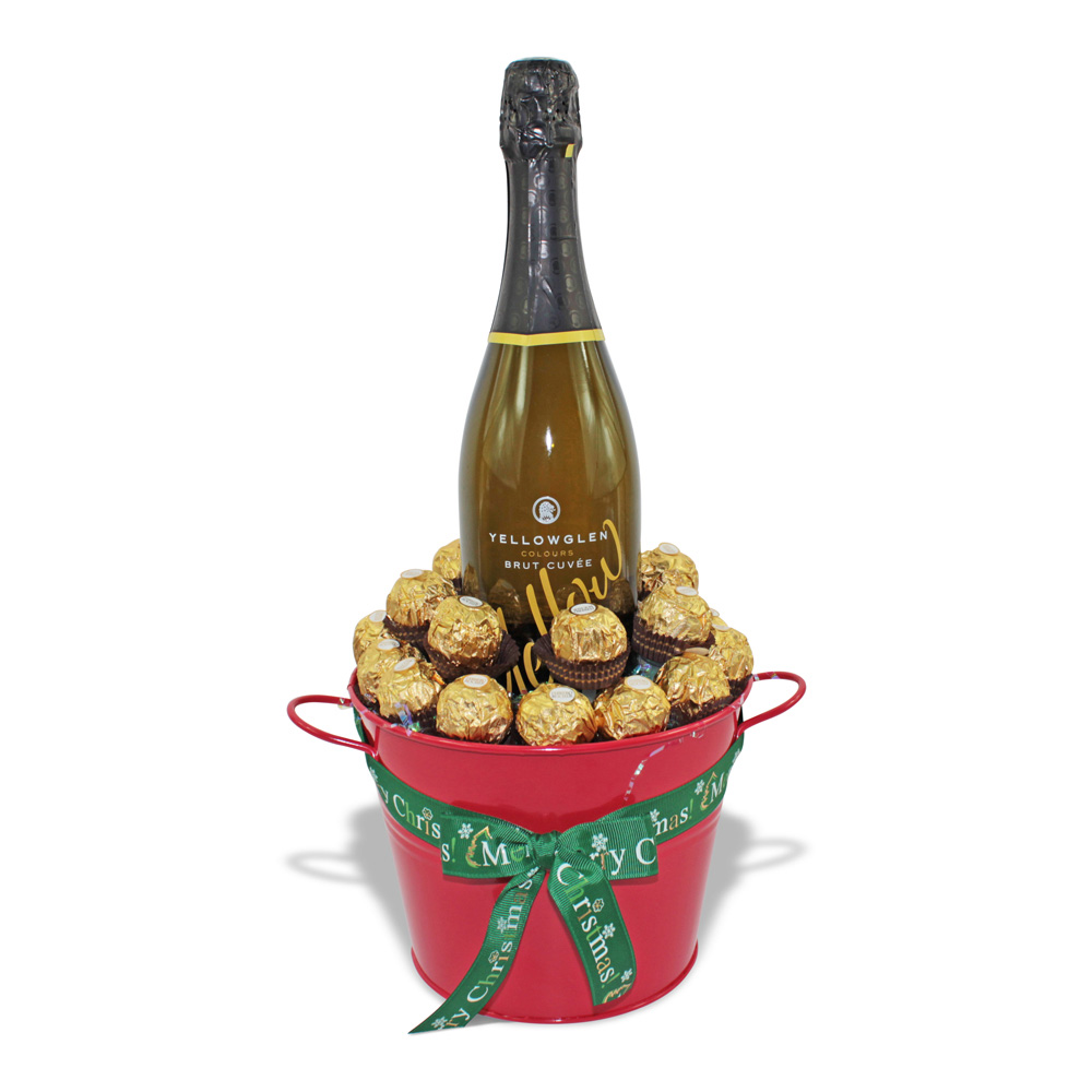 Yellowglen and Ferrero Rocher chocolate bucket